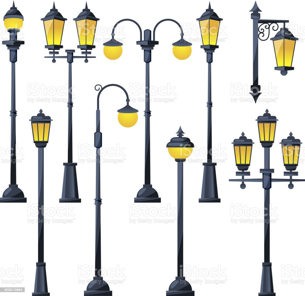 Vector illustration of old city lamps in cartoon style vector art illustration