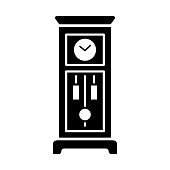 Vector illustration of old floor clock. Flat icon of vintage large wooden grandfather clock with pendulum. Isolated  on white background.