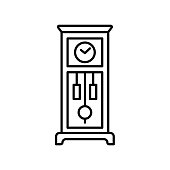 Vector illustration of old floor clock. Line icon of vintage large wooden grandfahter clock with pendulum. Isolated  on white background.