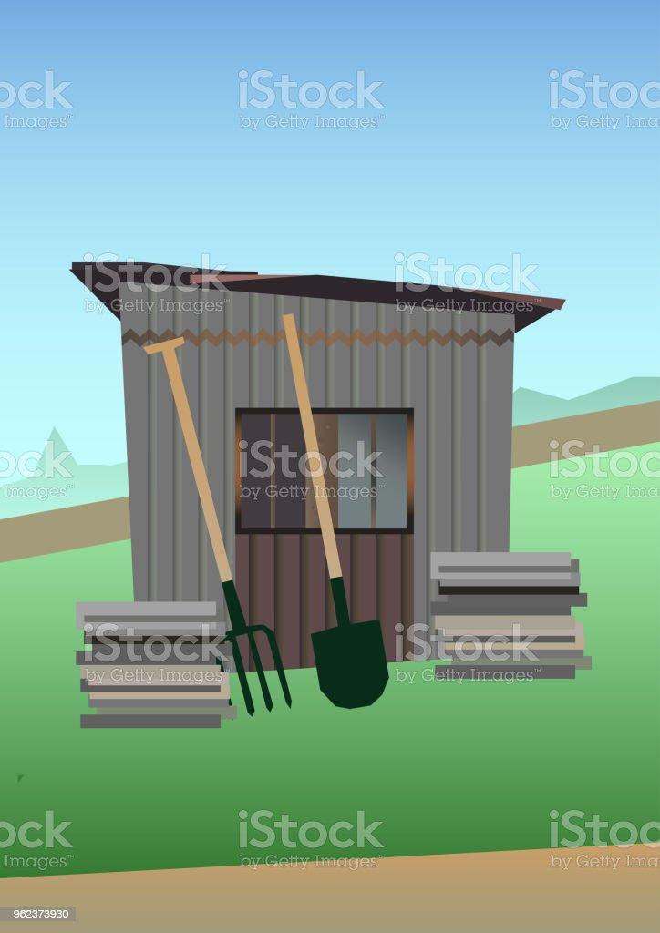 Vector illustration of Old garden shed vector art illustration