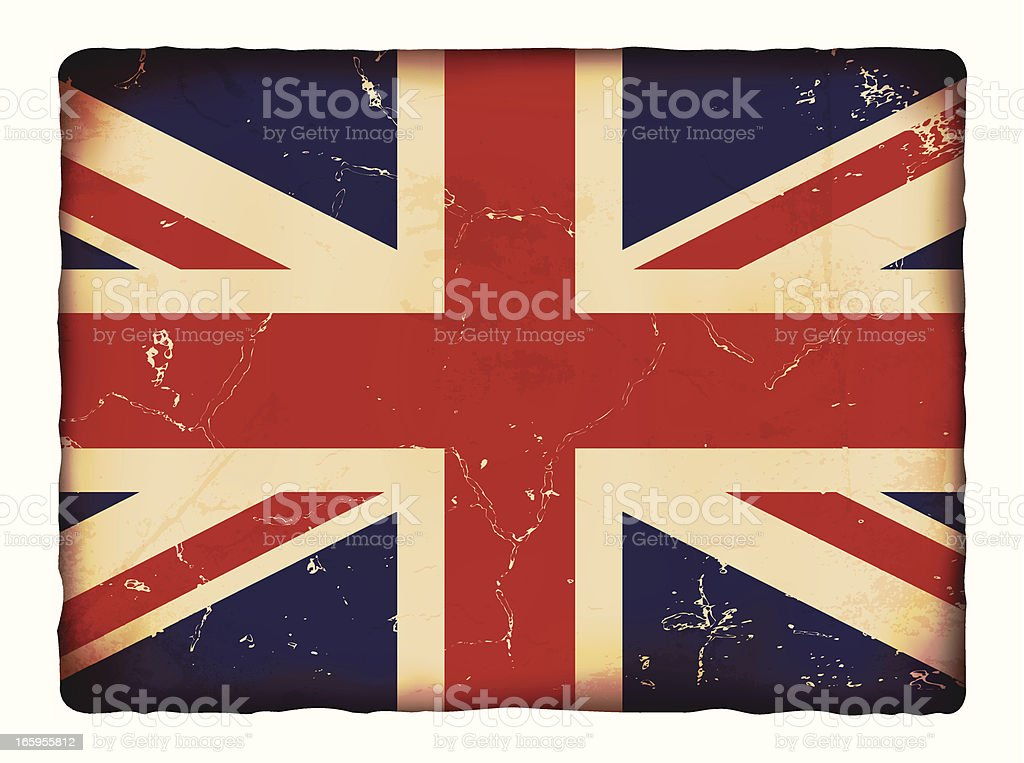 Vector illustration of old grunge paper UK flag. royalty-free stock vector art