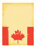 Vector illustration of old grunge paper with Canada flag.