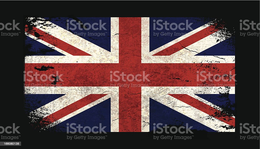 Vector illustration of old grunge UK flag. royalty-free stock vector art