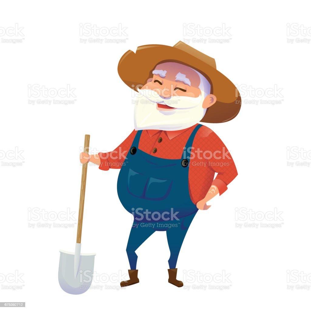 Illustration vectorielle de vieillard hipster sourire agriculteur illustration vectorielle de vieillard hipster sourire agriculteur – cliparts vectoriels et plus d'images de activité de plein air libre de droits