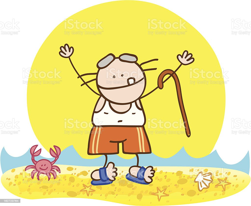 vector illustration of old man at beach royalty-free stock vector art
