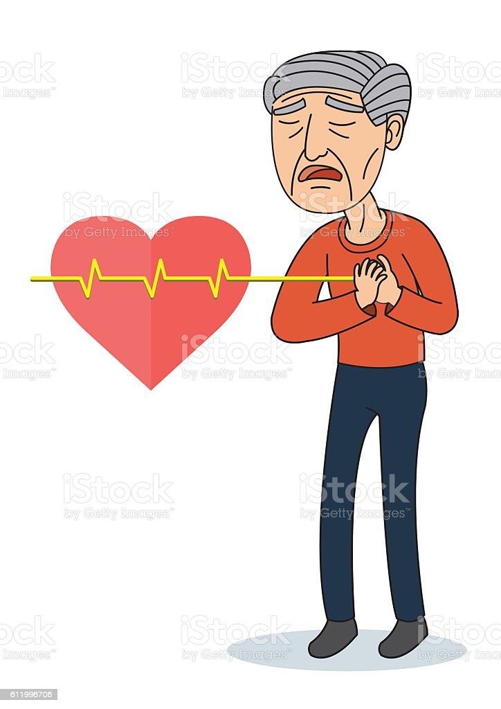 vector illustration of old man having chest pain stock