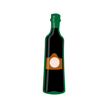 Vector illustration of olive oil bottle on white isolated background