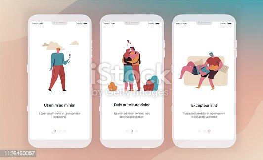 Dating, social networks, communication. Application templates concept Vector onboarding illustration flat design. UX, UI GUI screen template for mobile phone or web site banners.