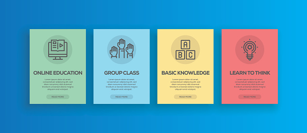 Vector illustration of onboarding app screens and web concept. Online Education-Group Class-Basic Knowledge-Learn To Think