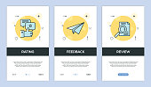 Vector illustration of Onboarding App Screens and Web concept with Rating-Feedback-Review screen flat line style