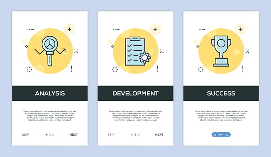 Vector illustration of Onboarding App Screens and Web concept with Analysis-Development-Success screen flat line style