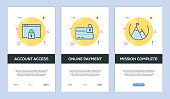 Vector illustration of Onboarding App Screens and Web concept with Account Access-Online Payment-Mission Complete screen flat line style
