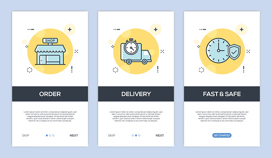 Vector illustration of Onboarding App Screens and Web concept with Order-Delivery-Fast and Safe screen flat line style