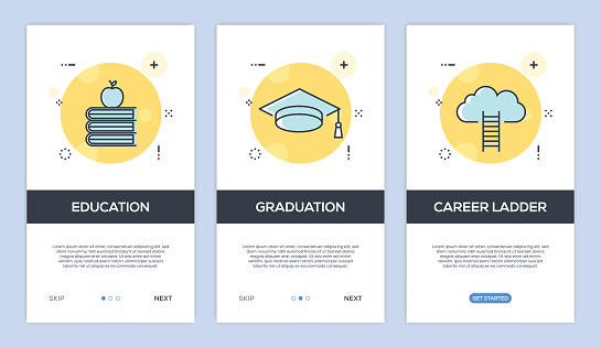 Vector illustration of Onboarding App Screens and Web concept with Education-Graduation-Career Ladder screen flat line style