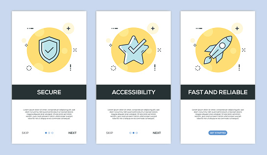 Vector illustration of Onboarding App Screens and Web concept with Secure-Accessibility-Reliable screen flat line style