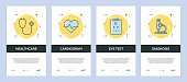 Vector Illustration of onboarding app screens Healthcare and Medical for mobile apps in flat line style