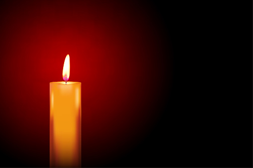 Vector illustration of one lit candle with wick burning and giving yellow flame over dar maroon background