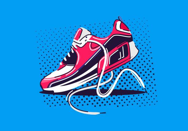 stockillustraties, clipart, cartoons en iconen met de illustratie van de vector van sporten die schoen loopt - running shoes