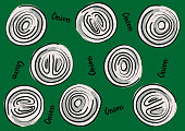 Vector illustration of onion rings on a green background and calligraphic inscription «Onion»