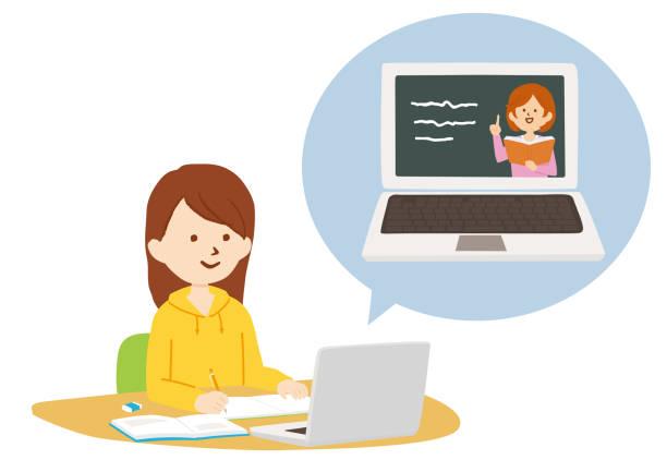 ilustraciones, imágenes clip art, dibujos animados e iconos de stock de ilustración vectorial de la clase en línea mediante videollamada - escuela media