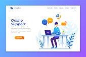 vector illustration of online support or contact support. illustration of customer services landing page design