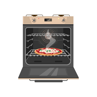 Vector illustration of opened gas stove with tasty pizza inside.