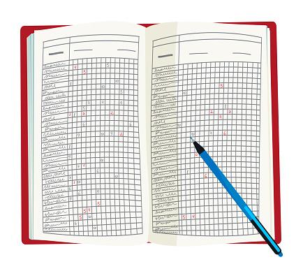 Vector illustration of opened teacher`s grade book