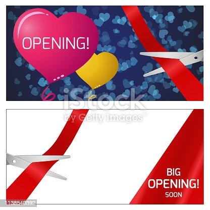 Vector illustration of the opening. Red and yellow balloons. scissors and red ribbon.