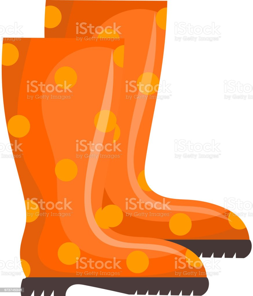 Vector illustration of orange rubber boots on a white background. Cartoon rubber boots, 'nisolated object vector art illustration