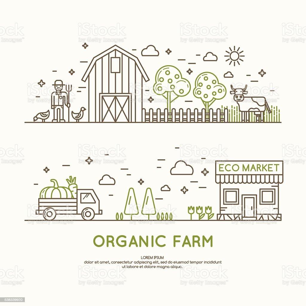 Ilustração vetorial de fazenda orgânica. - ilustração de arte em vetor