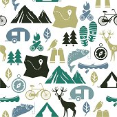 A seamless pattern of outdoor related activities. See below for an icon set of this file.