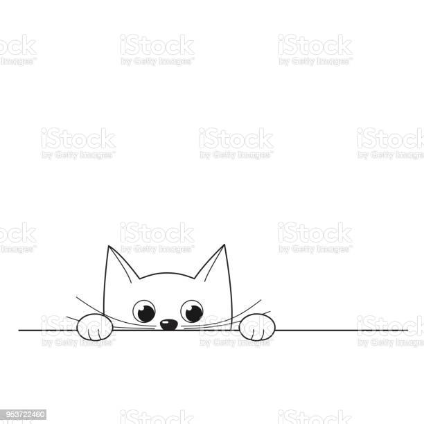 Vector illustration of outline cute peeking kitten vector id953722460?b=1&k=6&m=953722460&s=612x612&h=4paobyyj2td gc2cprvz31krroozdethourekihandm=