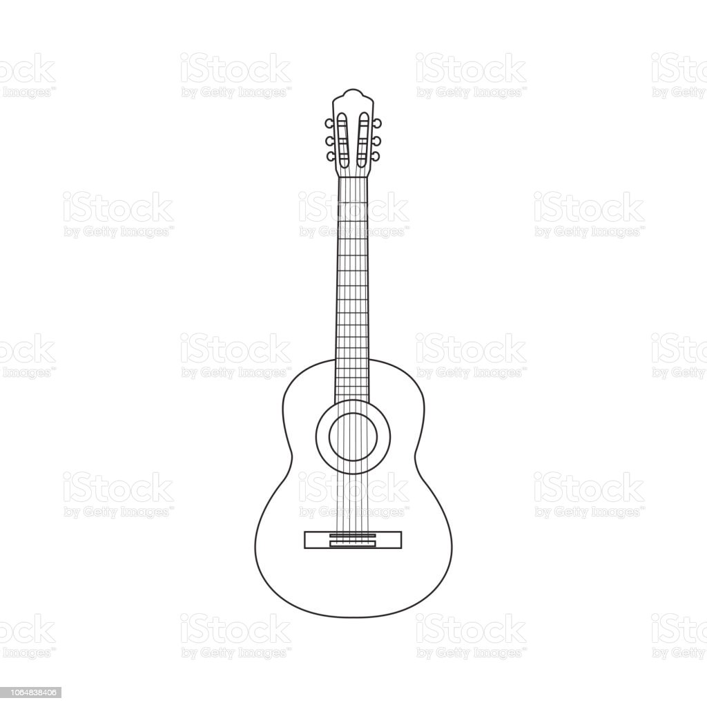 Vector Illustration Of Outline Guitar Vector Acoustic Guitar Stock