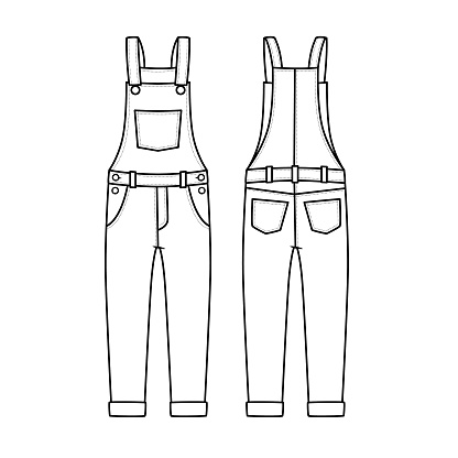 Vector illustration of overalls isolated on white background. Clothing costumes and accessories concept. Cartoon characters. Education and school kids coloring page, printable, activity, worksheet, flashcard.