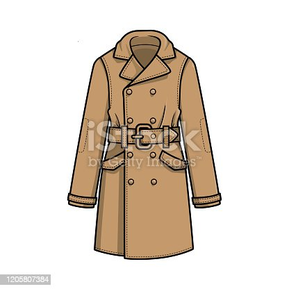 Vector illustration of overcoat isolated on white background.
