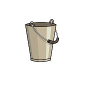 Vector illustration of pail isolated on white background.