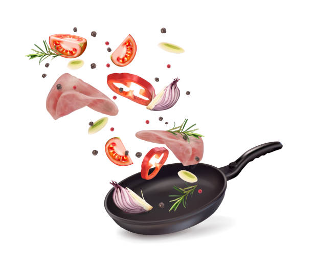 stockillustraties, clipart, cartoons en iconen met vector illustratie van pan met ham en groenten - meat pan