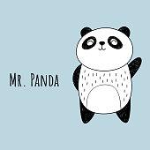 Vector illustration of Panda. The cartoon style.