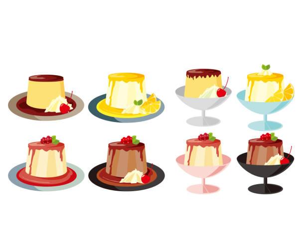 プレート上のパンナコッタのベクターイラスト。甘いデザート - プリン スプーン点のイラスト素材/クリップアート素材/マンガ素材/アイコン素材