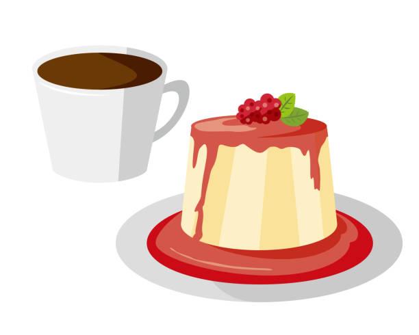 プレート上のパンナコッタのベクトルイラスト。甘いデザート. - プリン スプーン点のイラスト素材/クリップアート素材/マンガ素材/アイコン素材