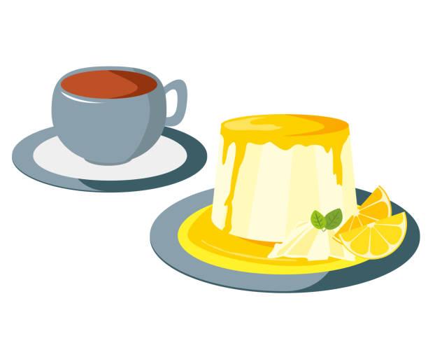 プレート上のパンナコッタのベクトルイラスト。甘いデザート - プリン スプーン点のイラスト素材/クリップアート素材/マンガ素材/アイコン素材
