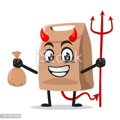 istock vector illustration of paper bag mascot or character 1311017523