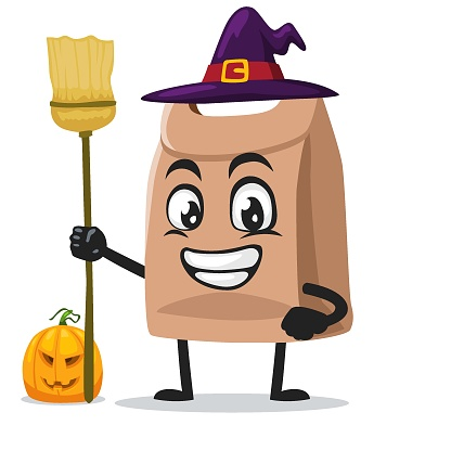 vector illustration of paper bag mascot or character