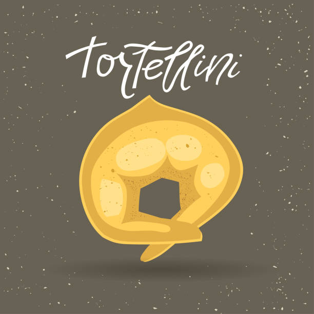 Vector illustration of pasta. Tortellini with lettering on a gray background. Vector illustration of pasta. Tortellini with lettering on a gray background. For trendy packaging, advertising, menu design. tortellini stock illustrations