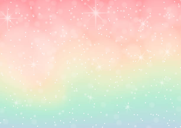 vector illustration of pastel coloured abstract background with bokeh - rainbow glitter background stock illustrations