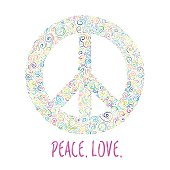 Vector illustration of peace sign on white background. Template for International Peace Day.