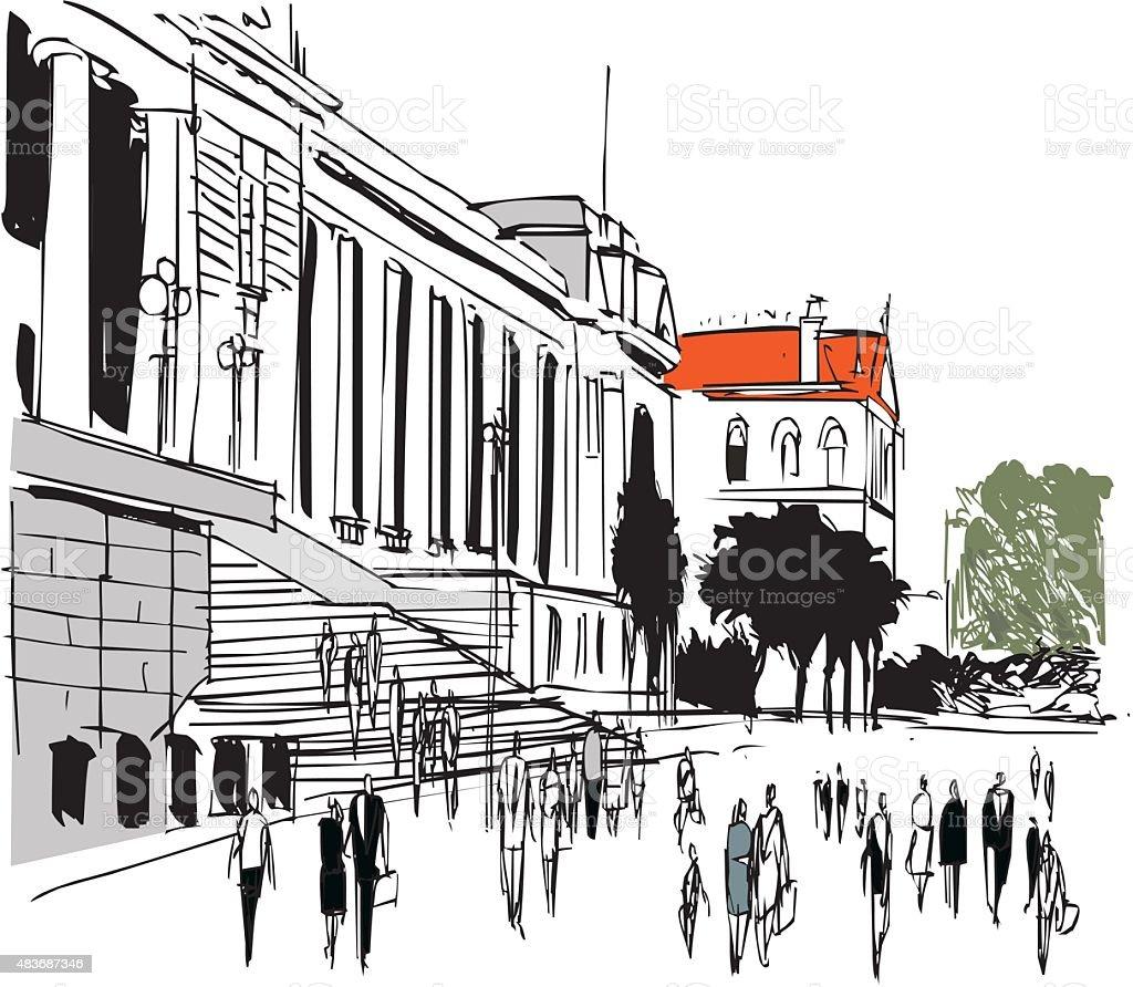 Vector illustration of pedestrians, Wellington New Zealand vector art illustration