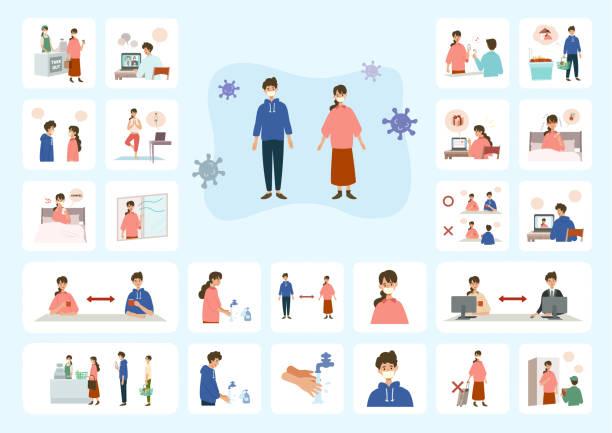 コロナウイルスと闘う人々のベクターイラスト - マスク 日本人点のイラスト素材/クリップアート素材/マンガ素材/アイコン素材