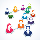 Vector illustration of people icons in a network