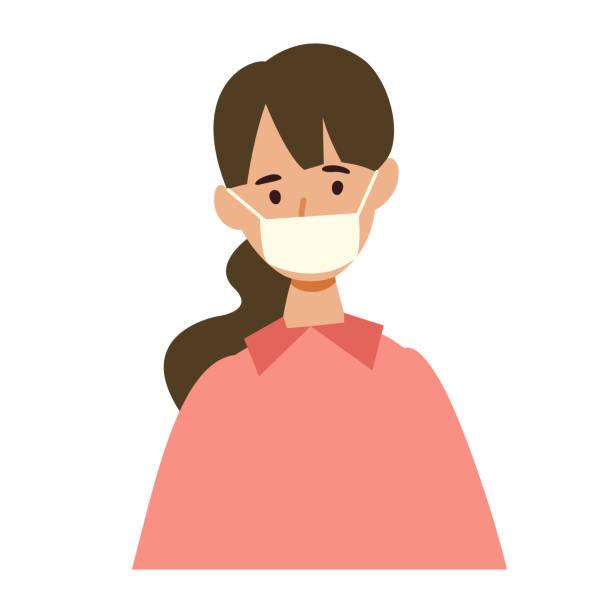 ウイルスに感染した人のベクターイラスト - マスク 日本人点のイラスト素材/クリップアート素材/マンガ素材/アイコン素材